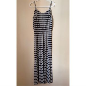 GAP • M • Grey Maxi w/Navy Stripes